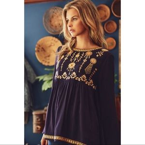 Bristol - Embroidered Baby Doll Yoke Top